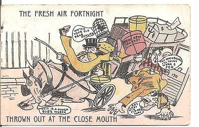 """Lovely Novelty Postcard,unknown Artist,horse And Cart""""fresh Air Fortnight""""1910"""