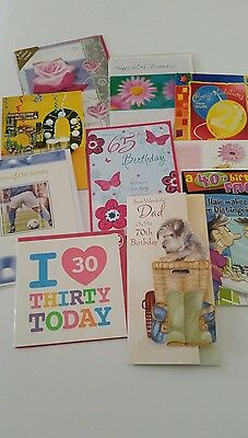 Job Lot Of 10 Quality Assorted  Adult Age Birthday Cards
