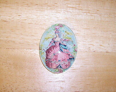 M Antoinette In Pink 30X40mm Glitter Unset Handmade Art Bubble Cameo Cabochon