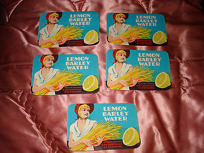 5 Vintage Lemon Barley Water Bottle Paper Label