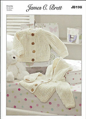 James C.brett Flutterby Chunky Baby Hodded Jacket & Cardigan Knitting Pattern