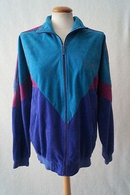 Vintage 80s adidas sports jacket green purple Size 12-14