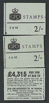 GB Booklets NP32 2s Nov 68 variety broken crown (front cover) & sliced '1968' (b