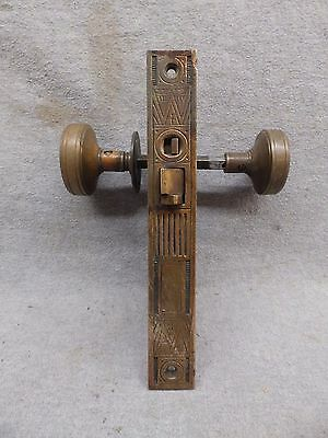 Antique Entryway Bronze Brass Door Knob Set Mortise Eastlake Old Vintage 511-17R