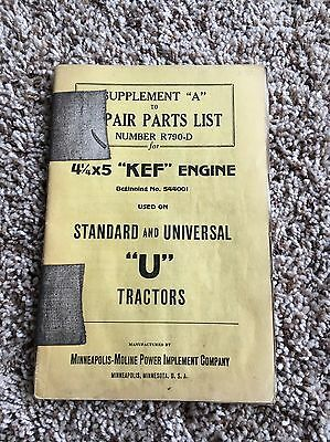 Early Minneapolis Moline U Tractor Repair Parts List Manual Twin City Universal