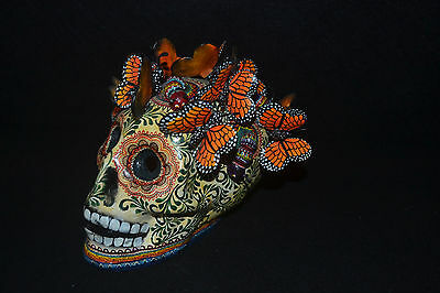 Monarch Butterfly Day of the Dead Mexican Folk Art Hand Painted Skull A Castillo