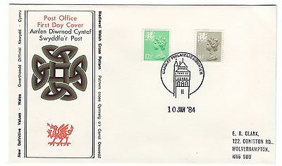 GB FDC 1984 Welsh Regionals 12½p 16p perf changes, Cardiff handstamp [ref a26 e3