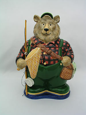 Department 56 - Bear Fisherman Cookie Jar - Gone Fishin' Woodland - Nice Piece