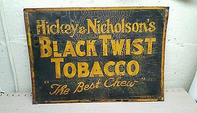 rare advertising black twist tobacco tin & paper sign
