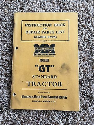 Minneapolis Moline Instruction Repair Parts List GT Standard Tractor Manual