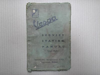 Douglas Vespa GL2 scooter original genuine service station manual USED STAINED