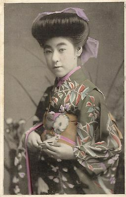 Geisha portrait with kimono beautiful old photo postcard