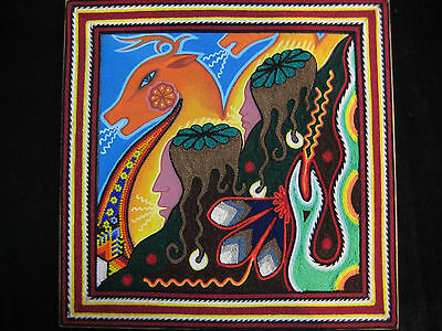 Fantastic Peyote Deer Huichol Mixed Media Yarn Painting Mexican Folk Art