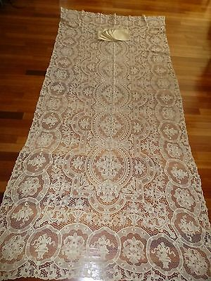 "Vtg Ecru Banquet Point De Venise Needle Lace Linen Tablecloth 64X134"" 12 Napkins"