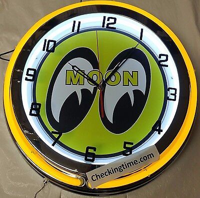 """19"""" Double Neon Clock MOON EYES Chrome Finish YELLOW Neon Color"""