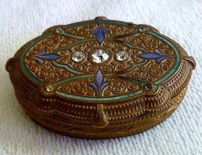 Vintage Art Deco French Gilt Bronze Dresser Box France Enamel Rhinestones