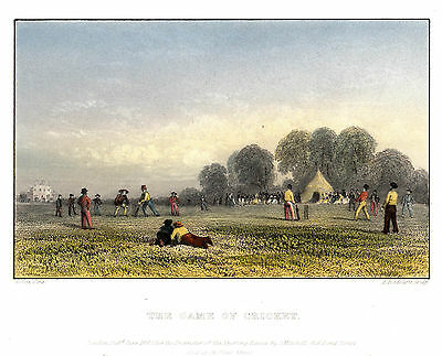 The Game of CRICKET- ORIGINAL Steel Engraving 1843 Sport  Radcliff Cox