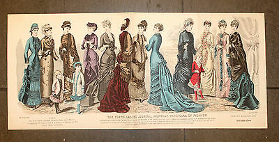 The Young Ladies Journal 1880 ORIGINAL 33x74cm Mode Fashion Kinder Children