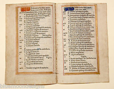 Original Stundenbuchblatt 1510 Pergament Livre d'heure leaf Vellum Book of Hours