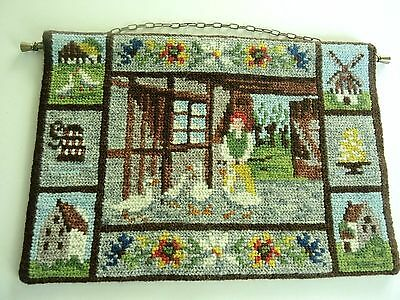 Swedish vintage embroidered wool wallhanging tapestry, old farmhouse