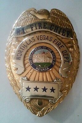 Vintage N. Las Vegas, Nevada Four Star # 1 Fire Chief Department Badge!