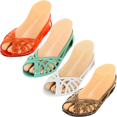 e18b985177bc Women Jelly Slip On Sandals Shoes Ballet Flats Garden Hollow Plastic Water  Clear