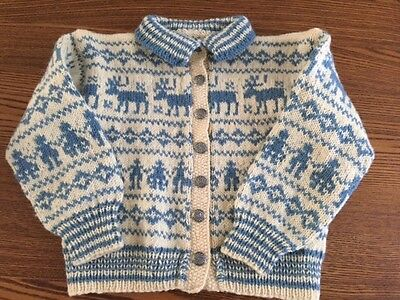 Vintage Hand Knit Reindeer Blue & Cream Icelandic Toddler Child's Wool Sweater
