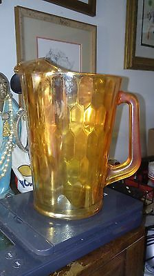 JEANNETTE'S GLASS 1950's HEX-OPTIC PITCHER IRRIDESCENT MARIGOLD 64 Oz.