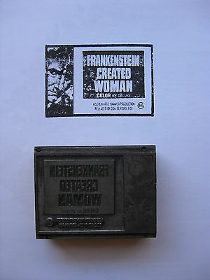 FRANKENSTEIN CREATED WOMAN '72 Original printer's ad block Hammer horror Cushing