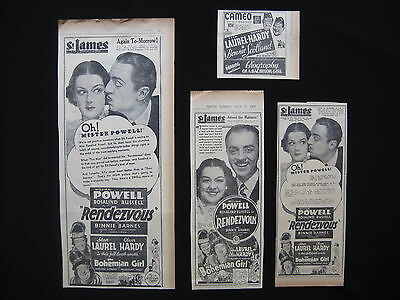 LAUREL & HARDY 1936 Original movie advertising Bohemian Girl Bonnie Scotland