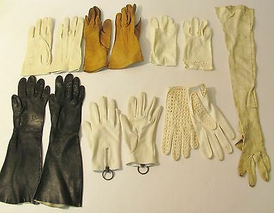 Vintage Lot Opera Gloves Black White Brown Leather Gloves 1920's 1950's Lazarus