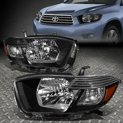 For 2008-2010 Toyota Highlander Pair Black Housing Amber Corner Headlight/lamps