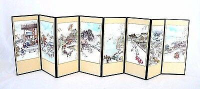 "Korean Folk Art Articles Miniature Table Top 8 Panel Folding Screen 8 1/4"" X 29"""