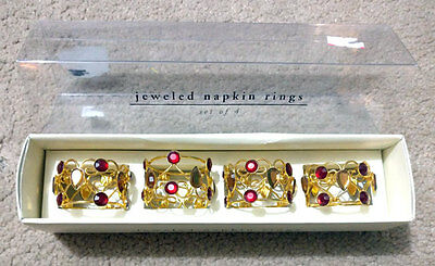 New Pier 1 Imports Jeweled Napkin Rings Set of Four 4