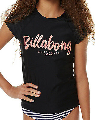 "Brand New + Tag Billabong Girls (12) Wet Shirt Rash Vest Rashie ""riptide"" Black"