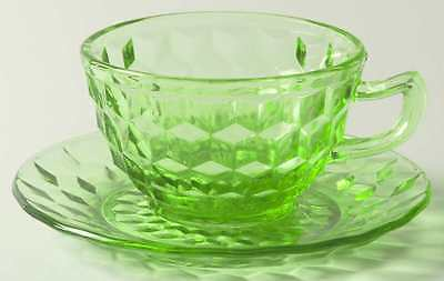 Jeannette Glass CUBE GREEN Cup & Saucer 898959
