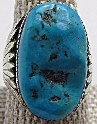 ESTATE Sterling Silver Navajo Robert and Bernice Leekya Mens Turquoise Ring BE94