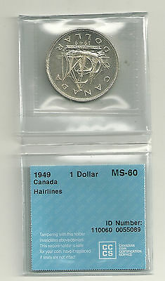 1949 Canada  80% Silver Dollar CCCS MS-60 Mintage 672,218