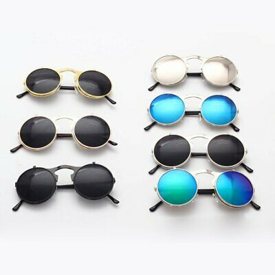 Retro Vintage Steam punk Round Sun Glasses Flip up Sunglasses Spring CU