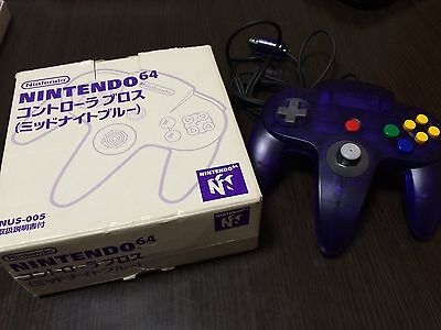 Nintendo 64 Controller Bros MidNight Blue Color VERY RARE BOX Set Japan