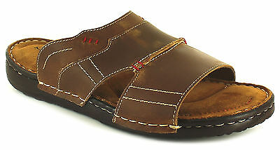 New Mens/Gents Brown Barrier Island Leather Upper Mule Sandals UK SIZES