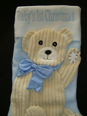 Baby's First Christmas Stocking  Nwots Appliqued Boy Teddy Bear