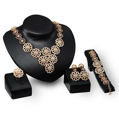 18K Gold Plated Women Bridal Jewelry Set Crystal Flower Necklace Earring RTCA