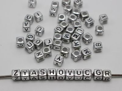 200pcs 6mm silver  Black Acrylic Cube Letter Alphabet Beads Spacer Jewelry DIY