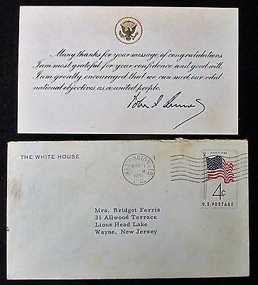 John F Kennedy 1961 WHITE HOUSE SIGNATURE CARD w Pre-Printed Autograph and Note