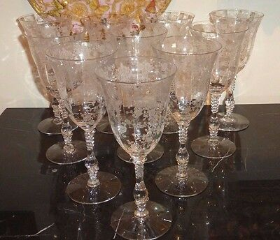 10 Cambridge Rose Point Etched Water Goblets Glasses