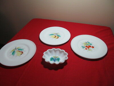Beaded Edge Westmoreland Three Dinner Plates and Small Crimped Beaded Edge Nappy