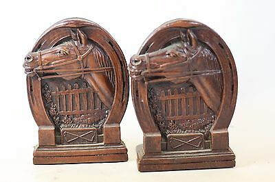 Vintage Pair of Equestrian Syroco Wood Horse Racing Show Jumping Statue Bookends