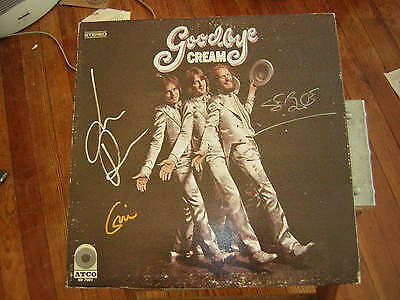 Cream Signed Lp Goodbye Eric Clapton Jack Bruce X3