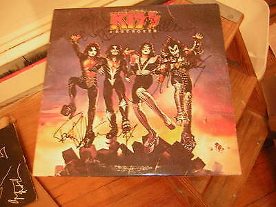 Kiss Signed Lp Destroyer Lp All 4 Members In Black